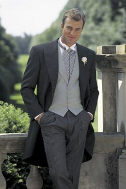 grey cutaway - Black Tie Philadelphia rentals - Chaps Somerset Ralph Lauren - all grey. Coat Style: GSOMC-Grey Cutaway. Pants Style: STP-Hickory Striped Pants. Shirt Style: WW-White Wing Collar. Vest Style: CUGREY-Dove Grey Vest. Tie Style: CUDOTA-Grey Foulard Ascot.