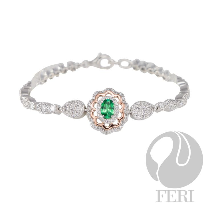 "FERI - When We Met - Bracelet - Exclusive FERI 950 Siledium silver - Exclusive dual natural rhodium and palladium plating - Set with exclusive FERI Swan cut lab stones - Colour: white and an emerald colour - Rose coloured gold plating accent - Dimension: 184mm L (7.24""), with 25mm (0.98"") extender, 25mm W (0.98"")  Invest with confidence in FERI Designer Lines.   www.gwtcorp.com/ghem or email fashionforghem.com for big discount"