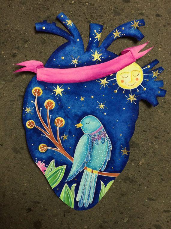 Enamorando a la luna por LiveyourdreamsArte en Etsy