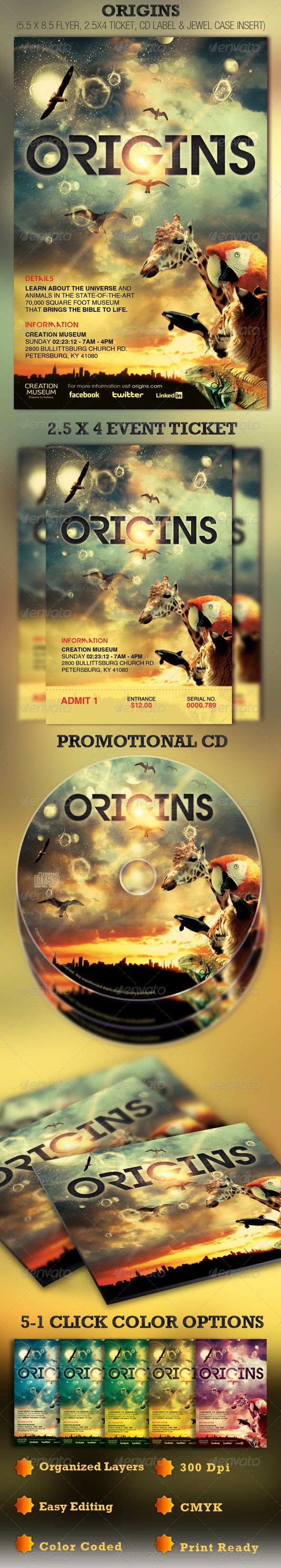 Origins Flyer, Ticket and CD Template - Price: $7.00