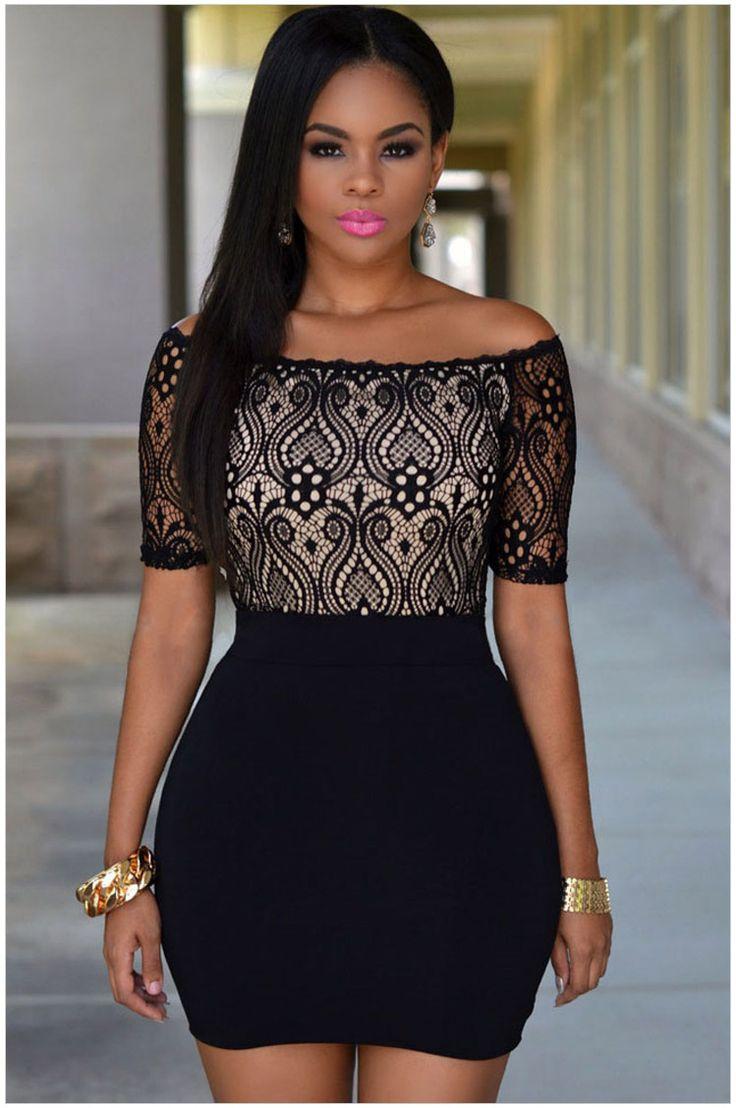 $13.68 - Free Shipping 2015 New Sexy Ladies Casual Mini Black Lace Top Off Shoulder Bodycon Dress NA22366 Fashion Women Dress Vestidos