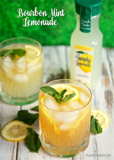 Bourbon Mint Lemonade - our Signature Summer Cocktail! Only 3 ingredients - bourbon, mint and Simply Lemonade. So light and refreshing! Mix up a pitcher for your next summer BBQ! #summercocktails