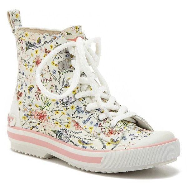 Rocket Dog Floral Rain Boot (43 CAD) ❤ liked on Polyvore featuring shoes, boots, soft grey, floral boots, rain boots, laced boots, rubber boots and wellington boots