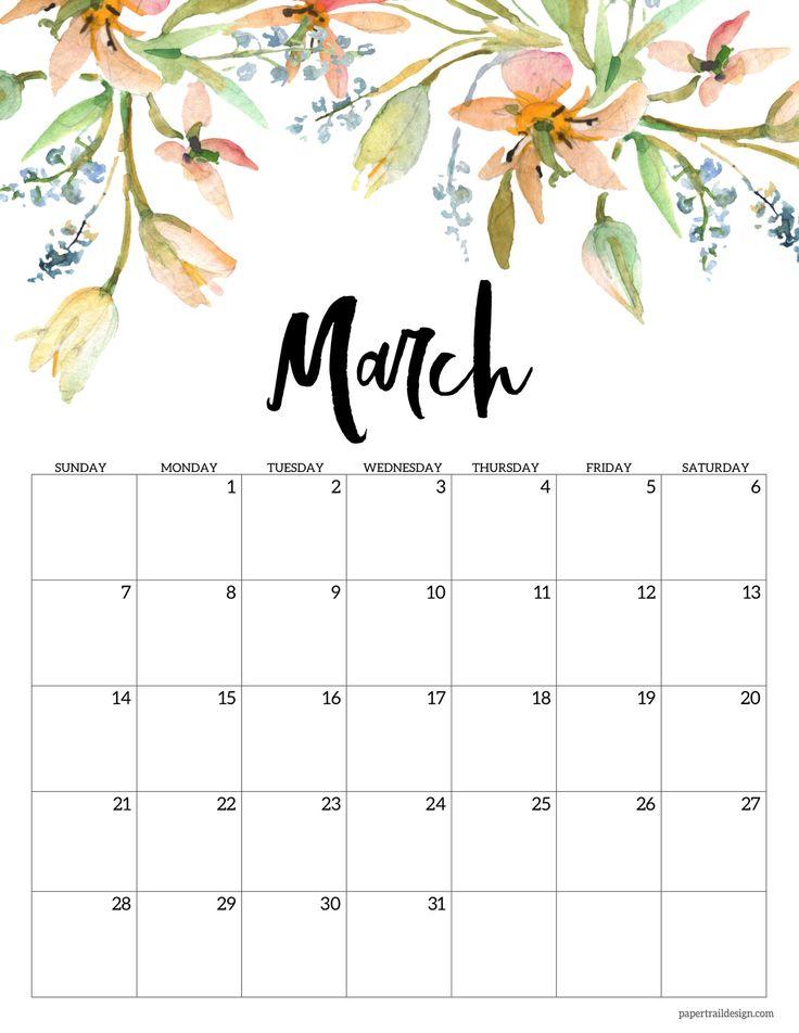 Cute March 2021 Floral Calendar in 2020 | Print calendar ...