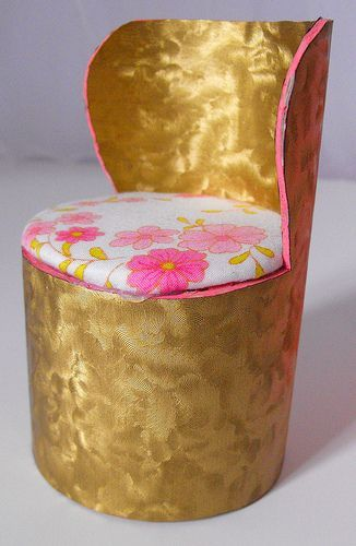 barbie chairs from a mailing tube. i wish i had these when i was a kid.