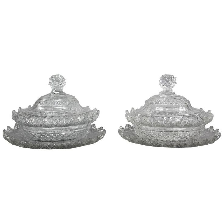 Pair of Irish Cut Glass Tureens and Underplates   From a unique collection of antique and modern glass at https://www.1stdibs.com/furniture/dining-entertaining/glass/
