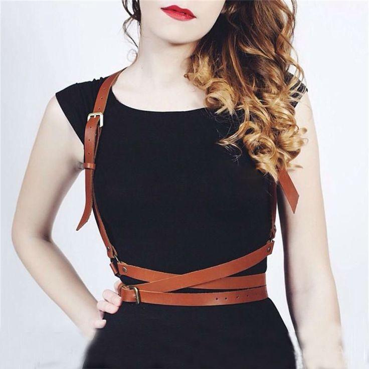 Gothic Suspender Women Leather Harness Sexy Punk Cross Sculpting Body Waist Belt 100% handmade female belts harajuku harness