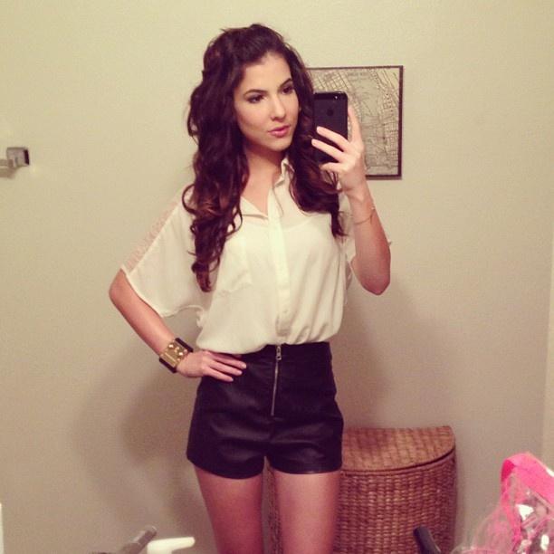 Rachel Talbott's leather shorts