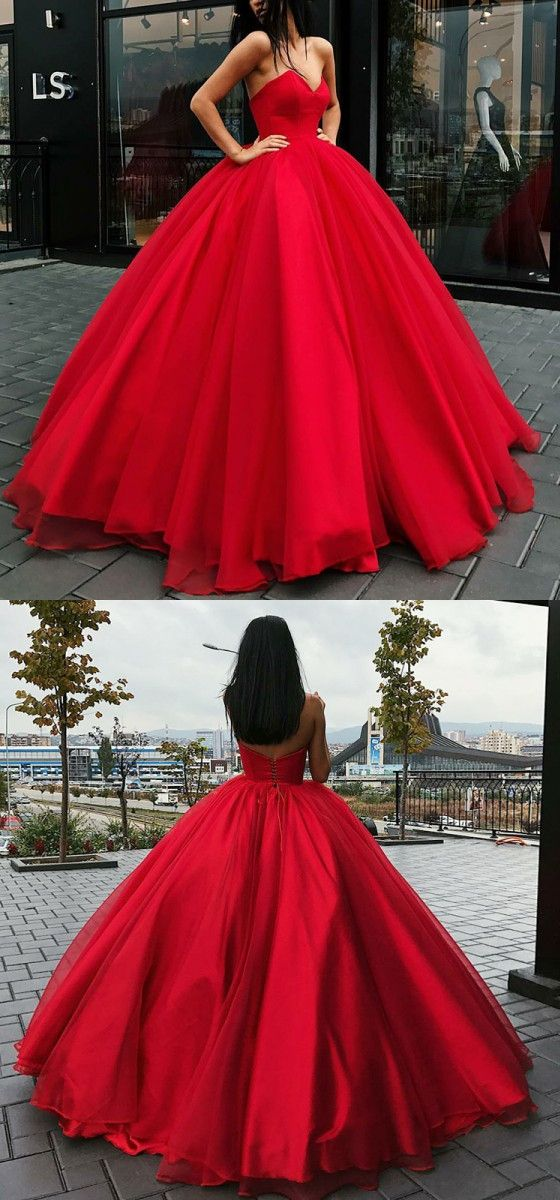 modest ball gown red prom dresses, unique sweetheart party dresses with pleats, elegant floor length organza evening gowns #promdress #reddress