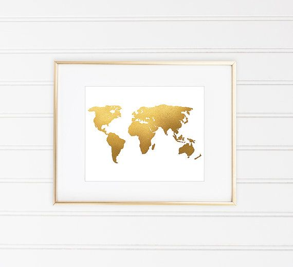 The 25 best world map poster ideas on pinterest world map world map print world map art faux gold foil by miaomiaodesign gumiabroncs Image collections