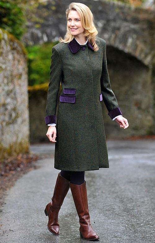 Tweed Velvet Trim Coat