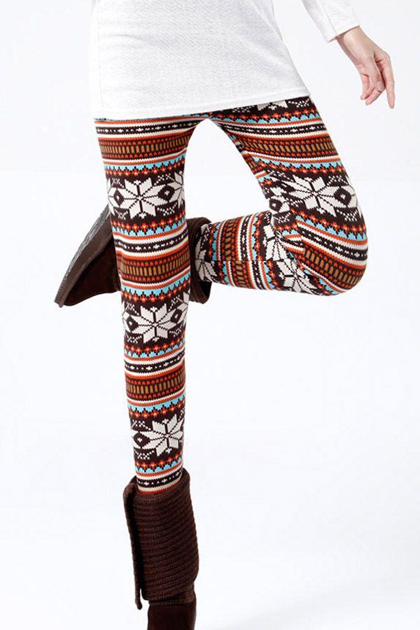 Winter Print Striped Warm Cotton Lined Christmas Leggings Snowflake Leggings Cozy Winter Fashion Pants Women Fashion