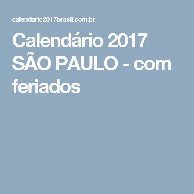 Calendário 2017 SÃO PAULO - com feriados