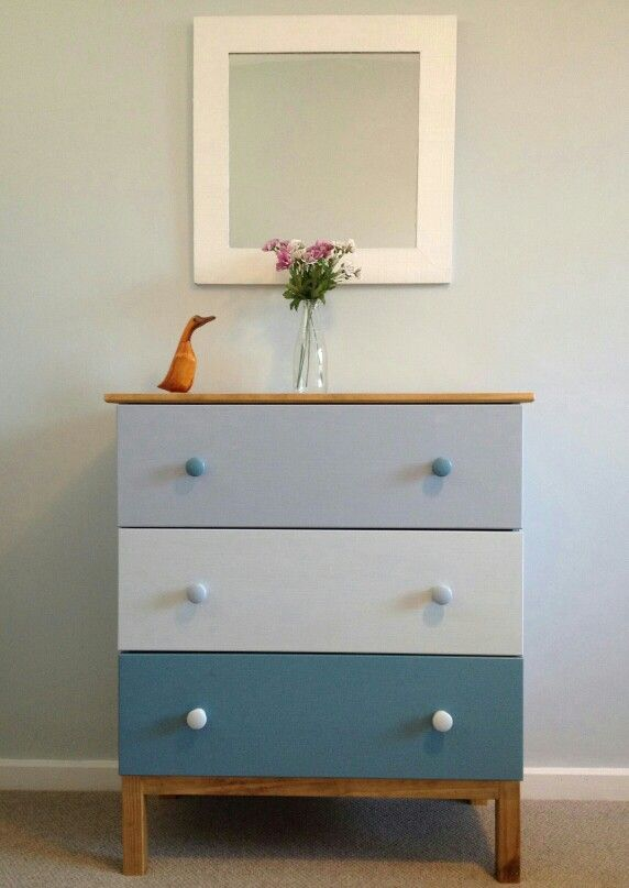 IKEA HACK TARVA three-drawer dresser.  Painted in Farrow and Ball Estate Emulsion: Blue Stone, Borrowed Light and Parma Grey then a clear matt varnish.  Top and legs wood stained oak.