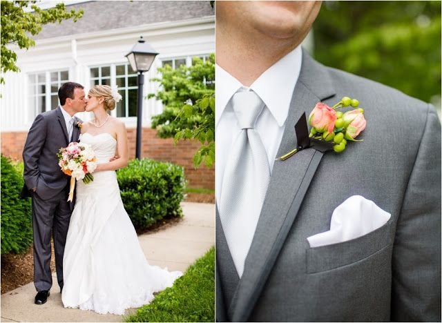 Violet Gardens: Coral, White, and Dusty Shale Wedding