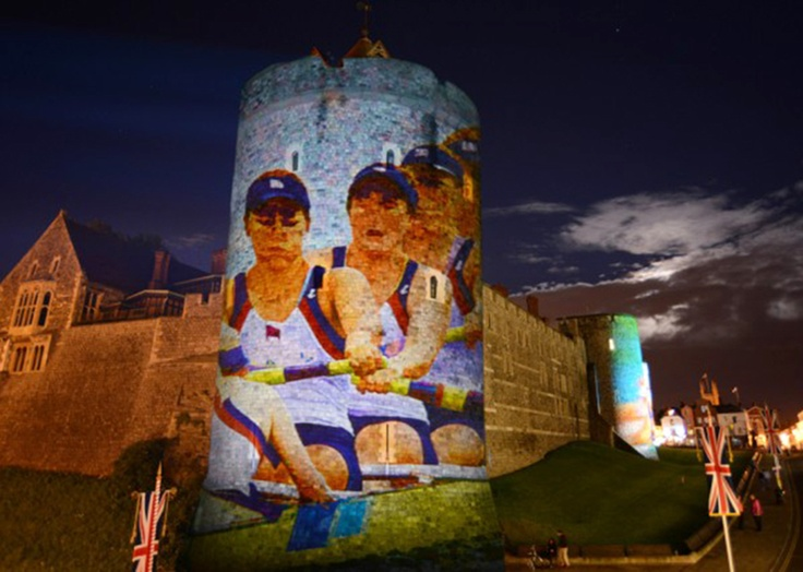Images of rowing and canoeing projected onto the walls of Windsor Castle to celebrate London 2012 and the Olympic events at Eton Dorney just a few miles from Windsor.