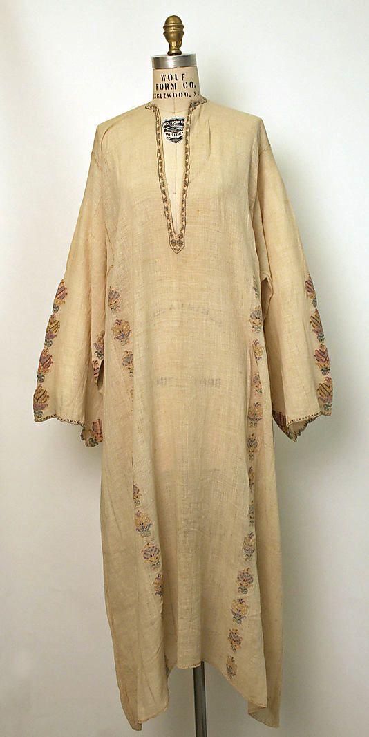 Wedding chemise of silk with metal thread, Greek, 19th C. Met.