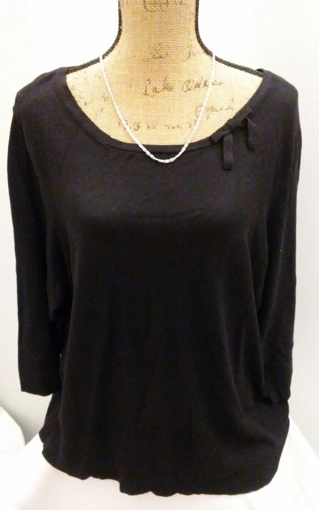 Worthington Plus Size 3X Black Career Sweater w/Bow Rayon #Worthington #ScoopNeck