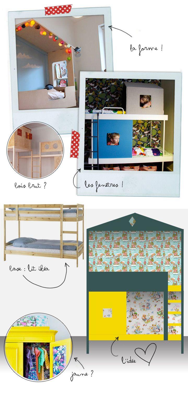 Lit Superpose En Bois Cerise Et Capucine : Lits Superpos?s D'enfant sur Pinterest Lits Mezzanine, Loft et Lits