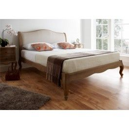 Amelia Oak Bed Frame (LFE) - £429. A beautiful French inspired frame which combines the beauty of weathered oak, with a natural linen look fabric.