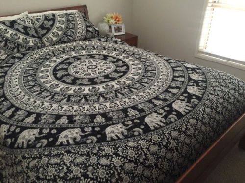 Mandala Duvet Cover Queen Quilt Cover Elephant Hippie Throw Doona Cover 3Pcs Set #Unbranded #DuvetCover