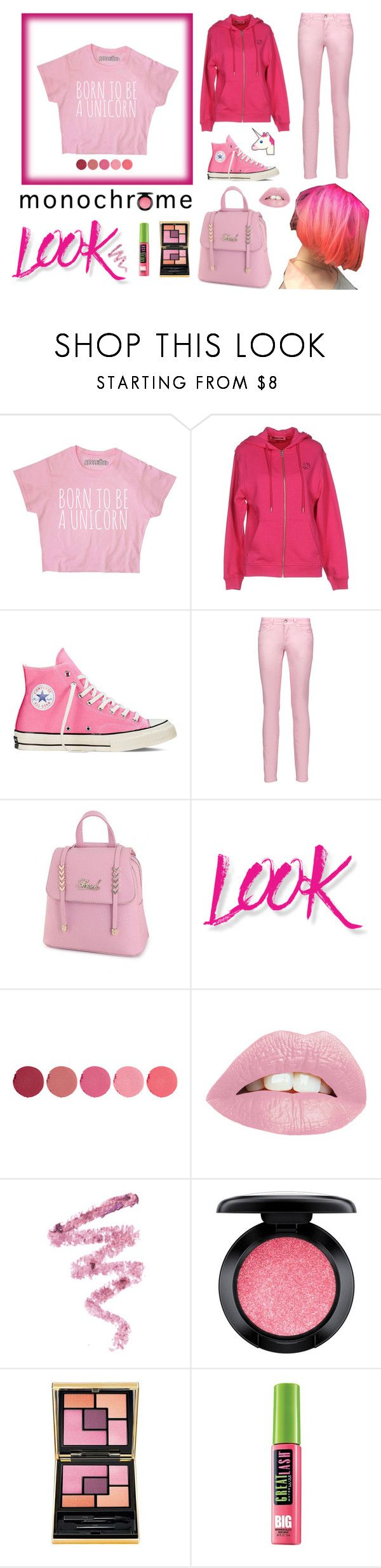 """""""Head-to-Toe Pink"""" by makkachin-the-fabulous ❤ liked on Polyvore featuring McQ by Alexander McQueen, Converse, Just Cavalli, NYX, Kjaer Weis, Cynthia Rowley, MAC Cosmetics, Yves Saint Laurent, Maybelline and monochrome"""