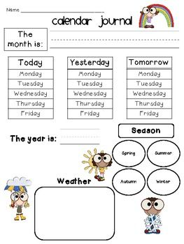 Kindergarten Calendar Journal For All Seasons  Missing weekend days. On Monday, yesterday was Sunday.