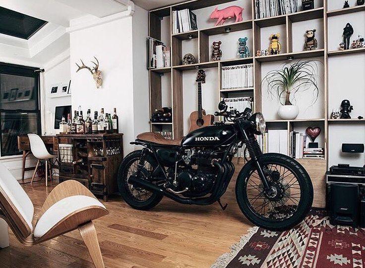 Honda in the living room. Definitely getting my bike in my living room during winter!!