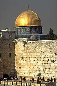 Jewish Western Wall and Arab Dome of the Rock, Jerusalem. This is a structure built over the sacred rock revered by both Christians and Muslims.  Imagine Christians praying at the Wailing Wall while Muslims are praying under the Golden Dome.