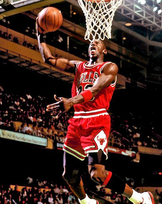 Michael Jordan Picture: MJ duks the ball for the Bulls in 1988. Picture 4. Photo by Steve Lipofsky