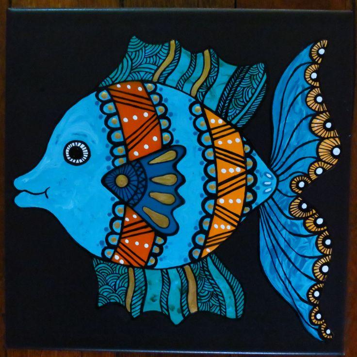 turquoise fish #tileart #ceramicfeaturetile #gardenart #homedecorating #wallart #handpaintedtileart #outdoordecorating http://www.margantiledesign.com.au