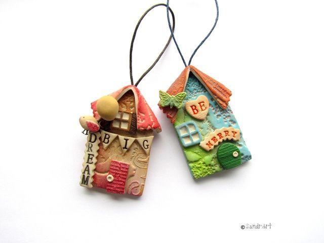 little polymer clay house earrings