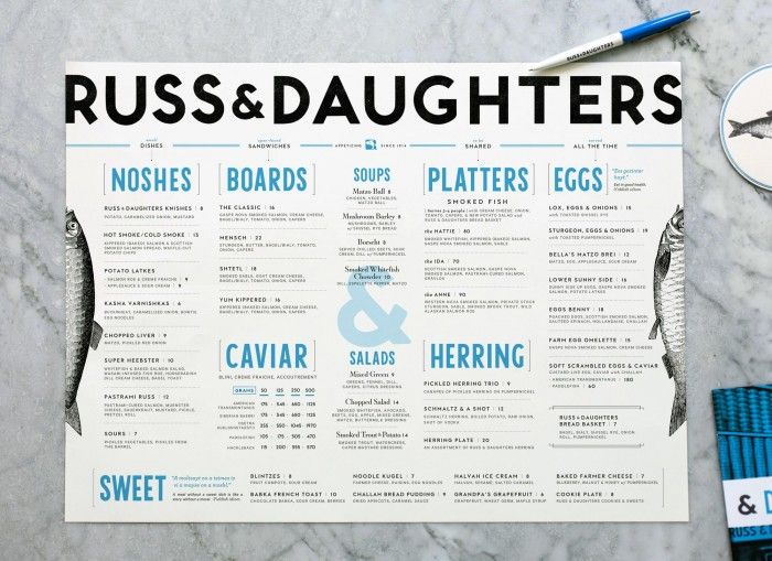 Russ and Daughters restaurant branding
