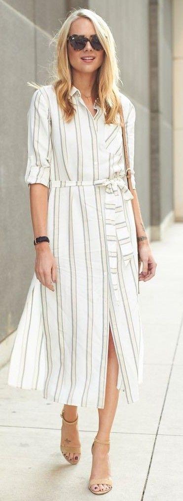 #spring #summer #fashionistas #outfitideas |Stripe Midi Shirt Dress |Fashion Jackson