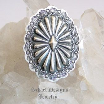 Vjp Vincent Platero Stamped Sterling Silver Oval Concho