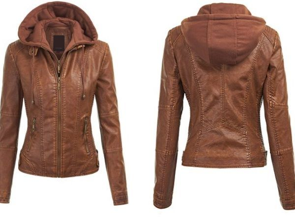 Arrow Womens Brown Leather Jacket with Hoodie – 90808r – Arrow Shopping