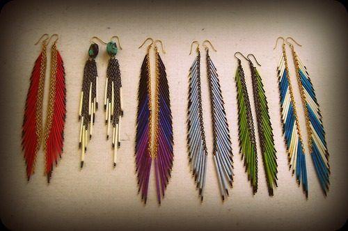 beaded earrings that look like feathers