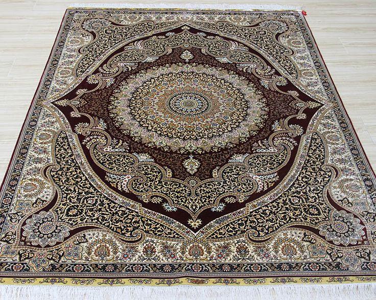 No.23575033, Handmade Silk Carpet. Kpsi 367, Density 230 lines. Size 5'x7' (152cm x 213cm). Real silk, Pure hand-made Origin: Henan China, Zhengzhou Yile Carpet Company. www.ylrug.com, info@ylrug.com, ylrug@126.com.+86-13849180658