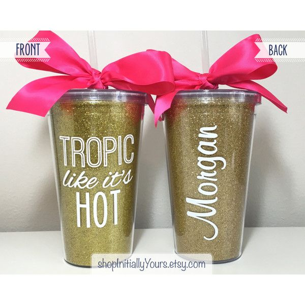 Tropic Like It's Hot Tumbler Beach Bachelorette Party Miami... ($15) ❤ liked on Polyvore featuring home, kitchen & dining, drinkware, black, drink & barware, home & living, tumblers & water glasses, personalized tumblers, outdoor drinkware and outdoor cart