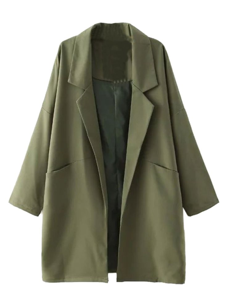 Army Green Lapel Dropped Shoulder Long Sleeve Coat