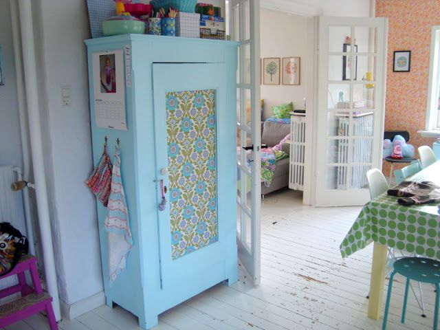 Painted and papered cupboard