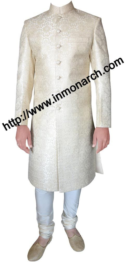 INMONARCH Mens Elegant Brocade Cream Sherwani SH438 by INMONARCH, $300.00