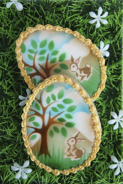 This is so original .. and special.  Montreal Confections - Airbrushed & stamped Easter egg cookies