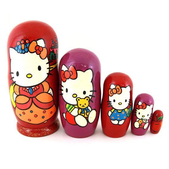 """Nesting dolls """"Hello Kitty"""", Disney Matryoshka, Stacking Doll, Nested Doll, Babushka, Mamushka, Wooden Doll, Toddler Gift, Toddler Toys"""