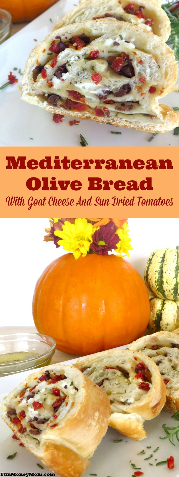 This Mediterranean Olive Bread with goat cheese and sun dried tomatoes pairs perfectly with just about any meal.