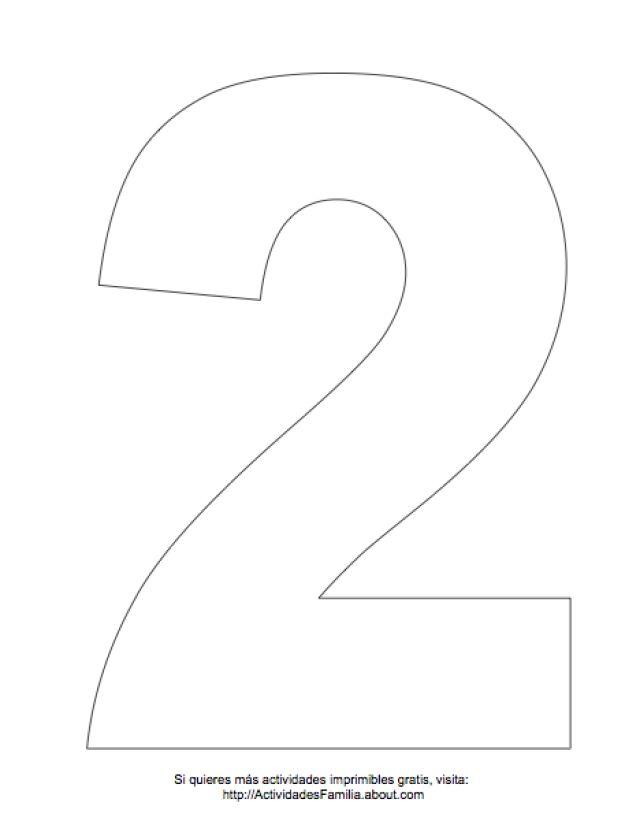 Dibujos de números para colorear: Número 2 para colorear