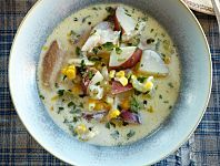 Use up the last of this summer's sweet corn with this smoky ham and corn chowder. Note: to get ham with the rind, get ham shanks rather than butt portion hams.