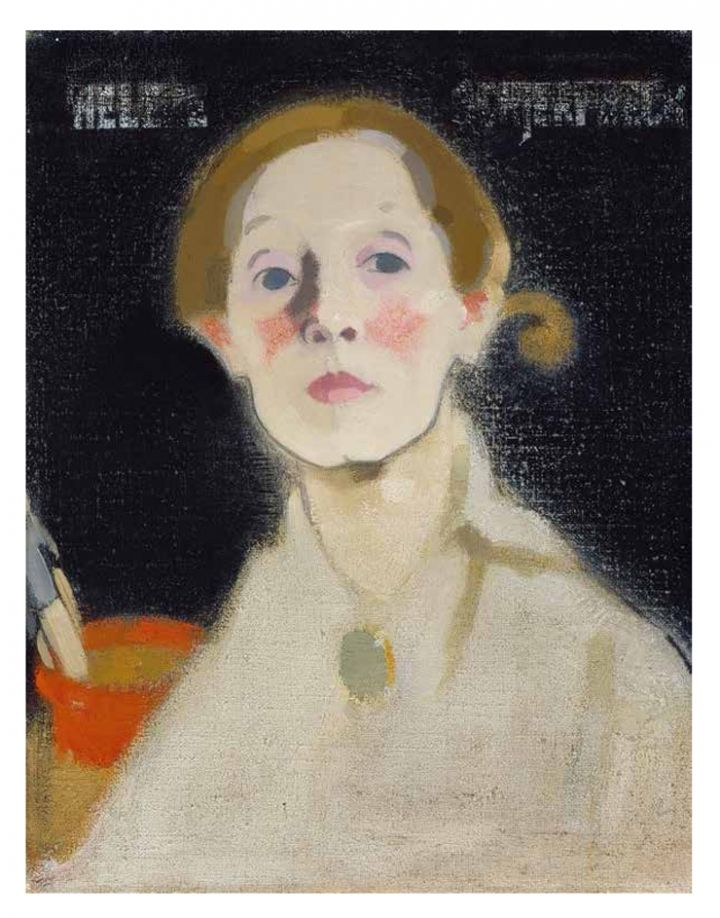 "Helene Schjerfbeck, ""Self-Portrait, Black Background"" (1915), oil on canvas, 45.5 x 36 cm, Herman and Elisabeth Hallonblad collection, Finnish National Gallery / Ateneum Art Museum (courtesy Finnish National Gallery / Hannu Aaltonen)"