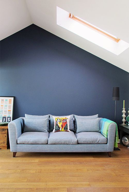 "nice blue/gray wall! Great color, but neutral too. Farrow & Ball's ""Hague Blue"""