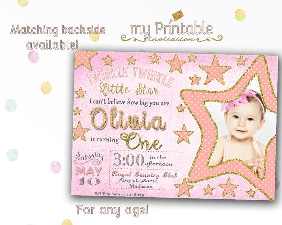 Twinkle Little Star Birthday Invitation Digital Printable Invite For Kids With Photo First Party DIY 1st
